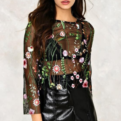 Floral Embroidered Black Mesh Long ..