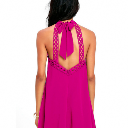 Pink Halter Neck Ribbon Cut Out Shi..