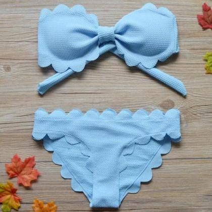 Pure color bowknot edge scalloped s..