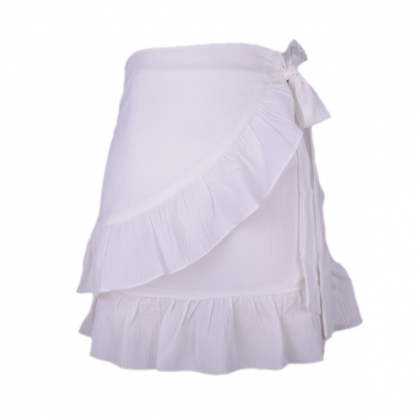 Belted skirt women's pure color hig..