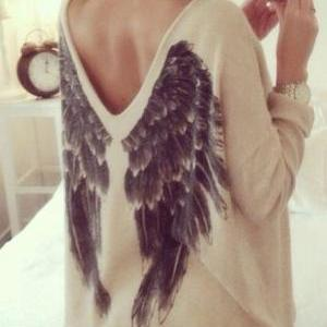 CUTE V BACK DESIGN WING SHIRT SWEAT..