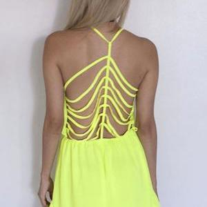 Sexy v-neck backless hollow out per..