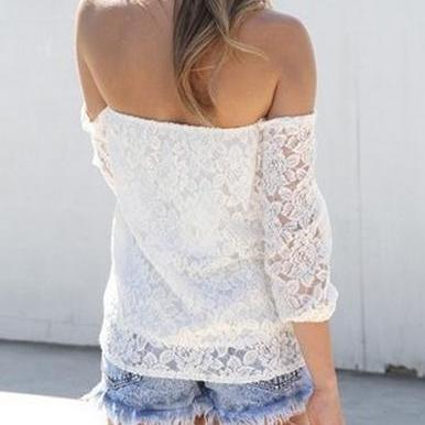 White Lace Off-The-Shoulder Long Sl..