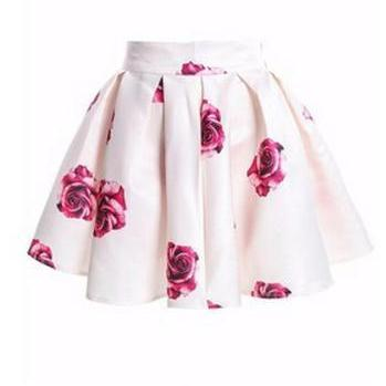 Rose Print High Rise Short Ruffled ..