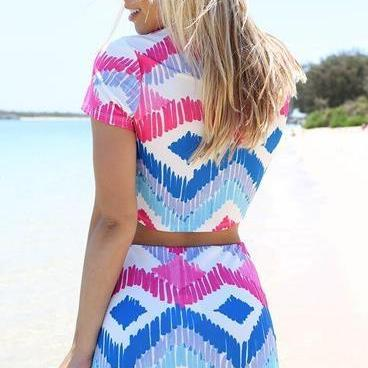 Colorful Print Two Piece Crop Top a..