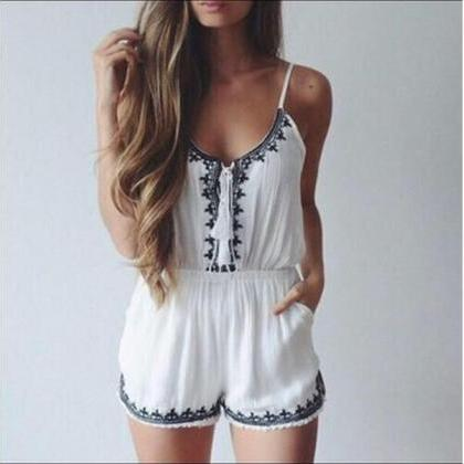 HOT CUTE EMBROIDERY ROMPER JUMPSUIT..