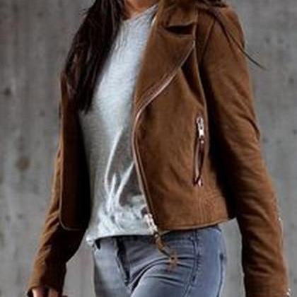 HOT CUTE ZIPPER SHORT COAT JACKET