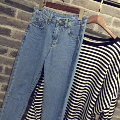 Cotton pencil pants casual denim pa..