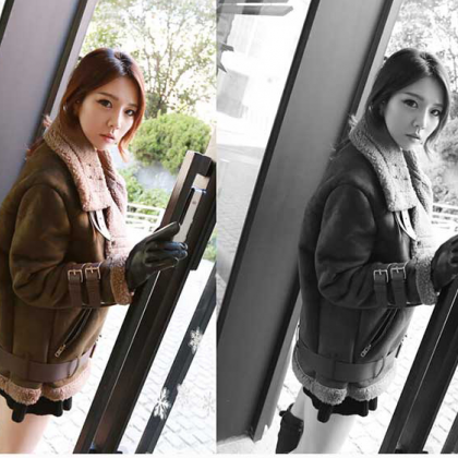 Female short paragraph coat thick c..