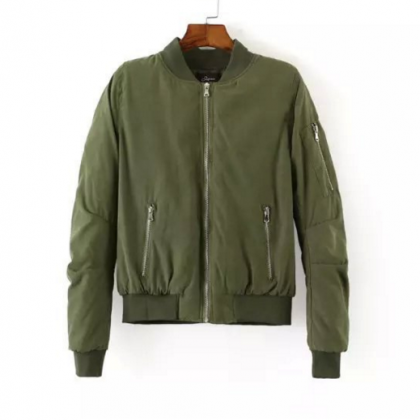 Army Green Bomber Jacket with Side ..