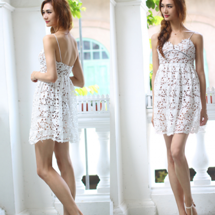 HOT LACE STRAPS SHORT DRESS HIGH QU..