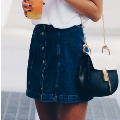High Waisted A Line Button-Down Min..