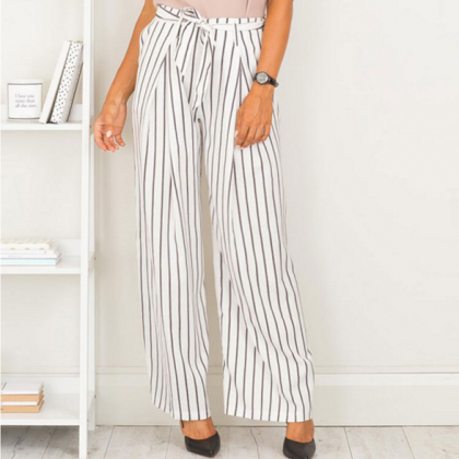 Large striped trousers wide leg pan..