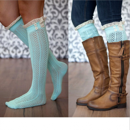 Light Blue Crochet Lace Knee Length..