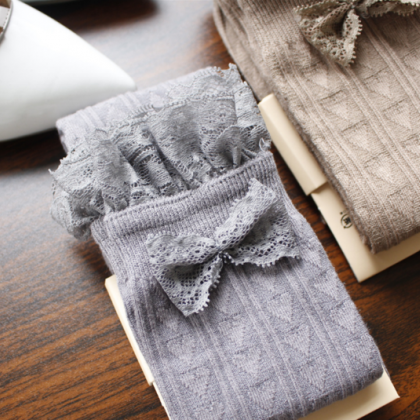 Lace lace bow knot socks was thin v..
