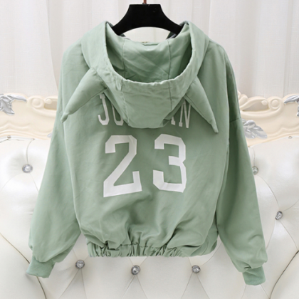 Women 's Spring Hooded Hooded Jacke..
