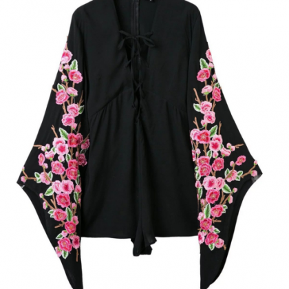 Flare Long Sleeve Floral Embroidere..