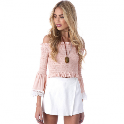 Ruffled Off-The-Shoulder Long Flare..