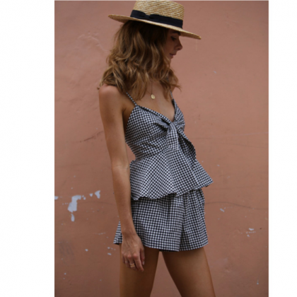 Two-Piece Spaghetti Strap Gingham F..