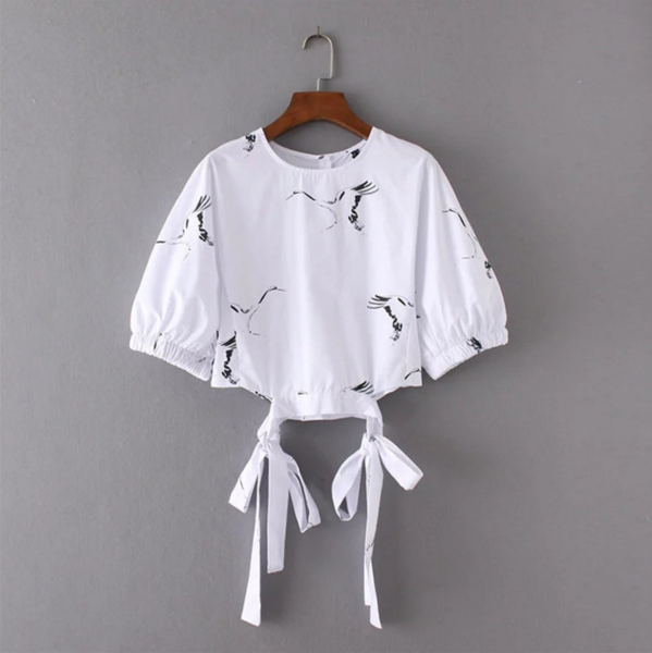 White Bird Print Puff-Sleeved Crew Neck Top Featuring Bow Accent