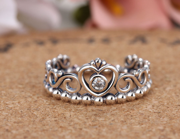 Korea Temperament Elegant Queen Silver Crown Lady Rings