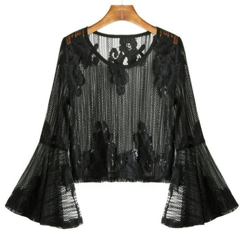 New women's print pullover slim lace shirt creative flared sleeve lace shirt