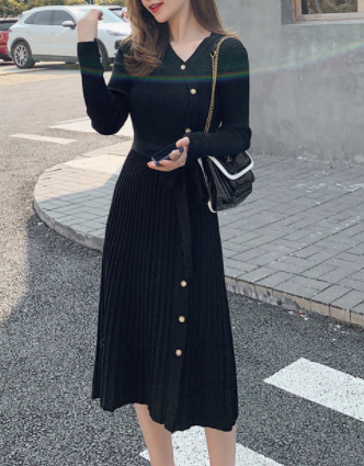 Spring and autumn mid-length long-sleeved striped v-neck waist slimming slim sweater knit dress Black