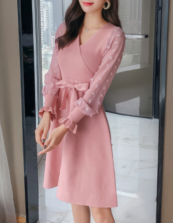 Fall Autumn Spring pink long sleeves v neck casual skater dress with bow belt