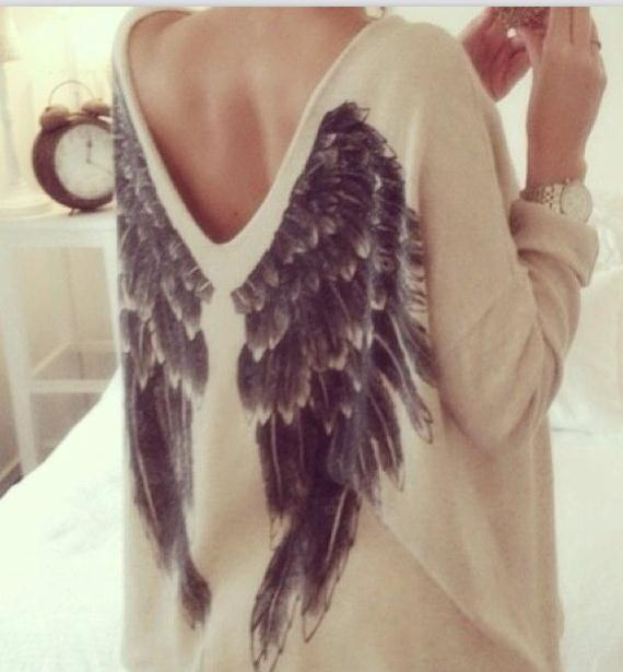 CUTE V BACK DESIGN WING SHIRT SWEATER TOP SHIRT