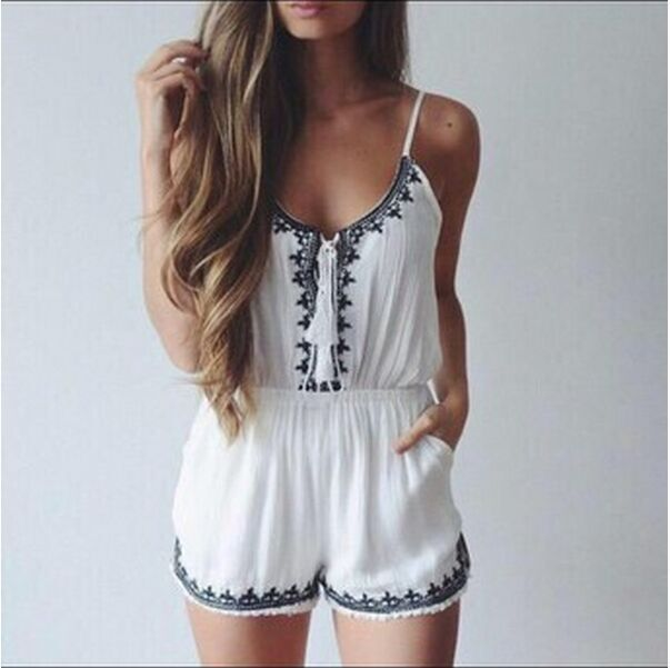 HOT CUTE EMBROIDERY ROMPER JUMPSUIT ROMPER PLAYSUIT