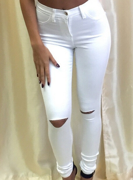 SEXY FASHION RIPPED JEANS FEET PANTS STRETCH PANTS