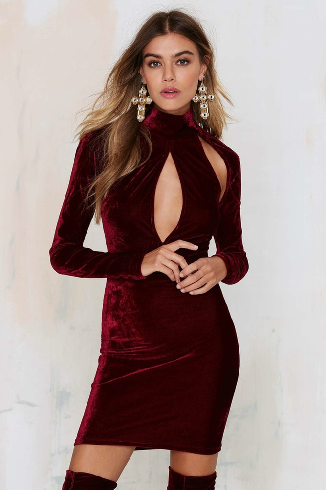 Burgundy Velvet Long Sleeve High Neck Cutout Bodycon Dress on Luulla 7ab99559c