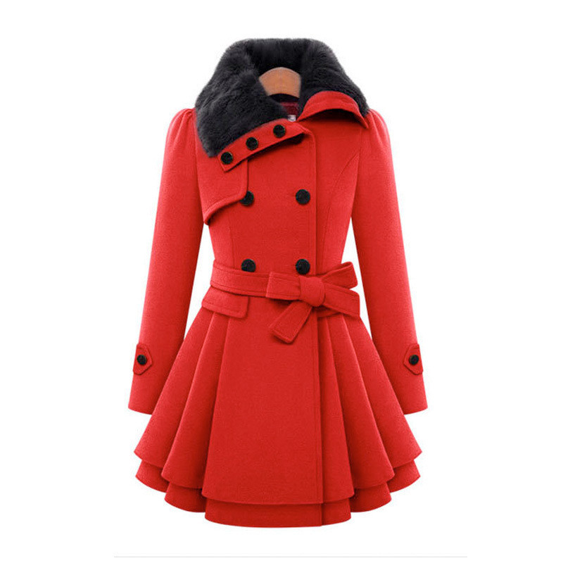 Women's clothing of cultivate one's morality long fur coat Double-breasted with thick coat WITH BELT