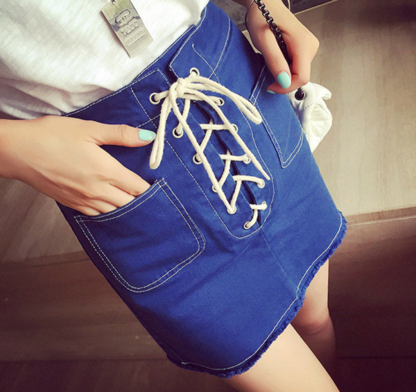 Denim Lace-up Straight-cut Mini Skirt with Frayed Hem and Dual Front Pockets