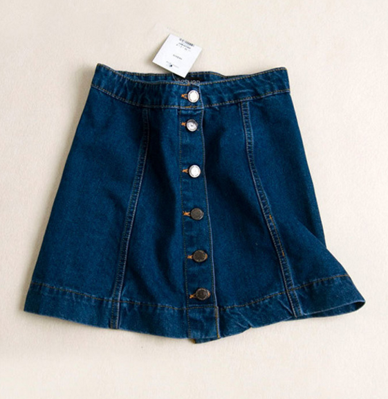 High Waisted A Line Button-Down Mini Denim Skirt