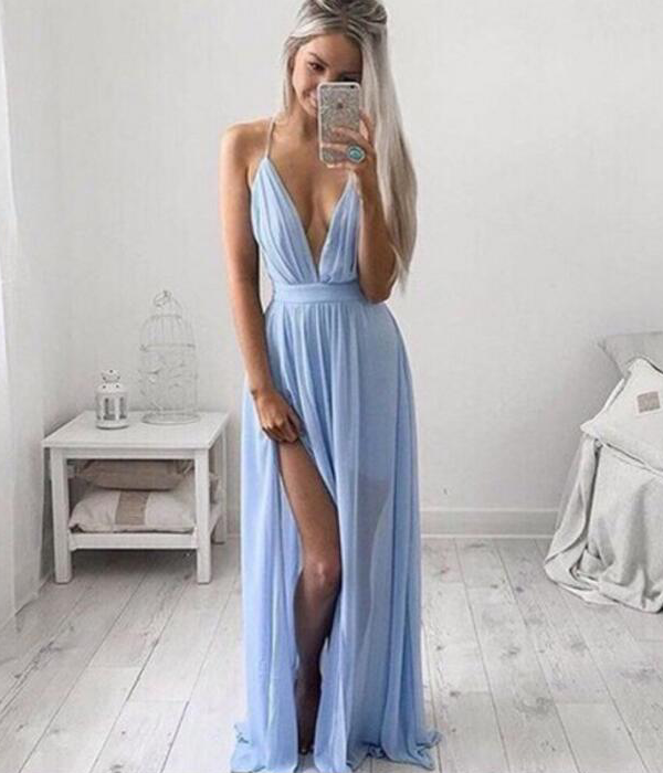 Sky Blue Strappy Chiffon Maxi Prom Dress on Luulla afb8a806c