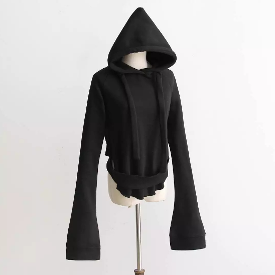 Hooded long-sleeved lace-up women's clothing