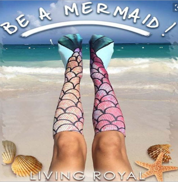 Printed pattern stockings mermaid socks