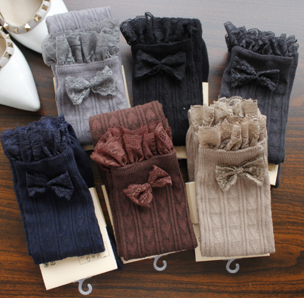 Lace lace bow knot socks was thin vertical high leg socks