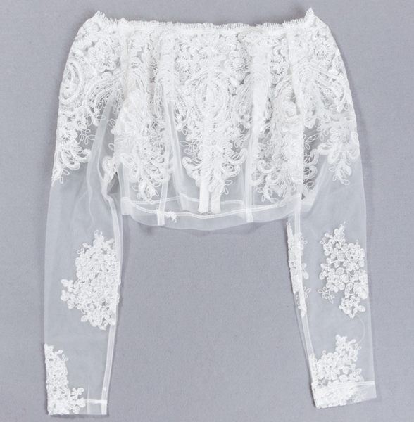 The new spring fashion perspective Slim was thin lace long-sleeved base short paragraph shirt female