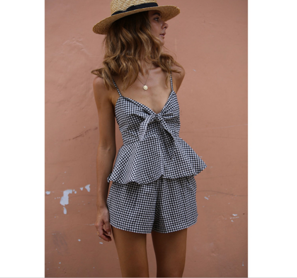 Two-Piece Spaghetti Strap Gingham Falbala Dress Adorned with Bowknot