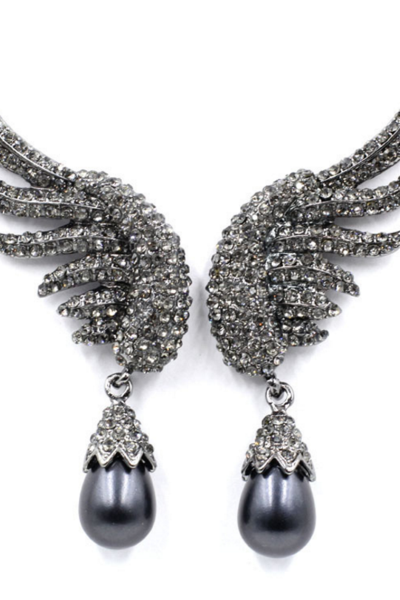 Fashion Angel wings of alloy diamond pearl pendant earrings Black White 2 color