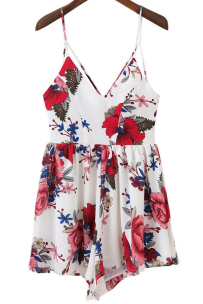 Fashion sexy straps print flower backless romper