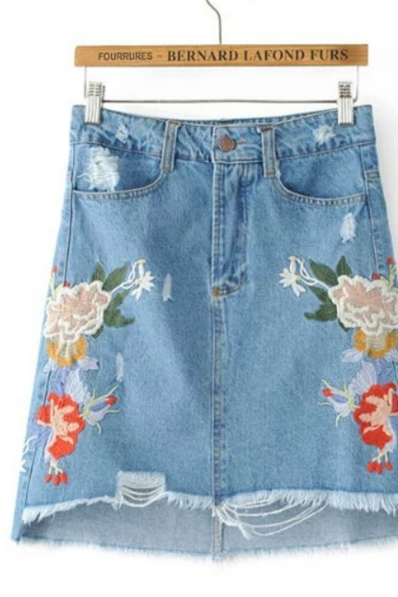 Floral Embroidered High Rise Distressed Denim Short Skirt Featuring Raw Hem