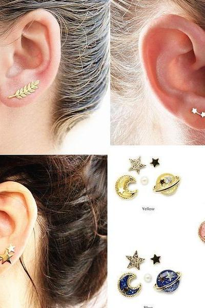 Fashion leaves earring Large three star Universe earring Small three star leaves earring A Pair For Four Pieces(Large three star+Universe earring+Small three star+ leaves earring)