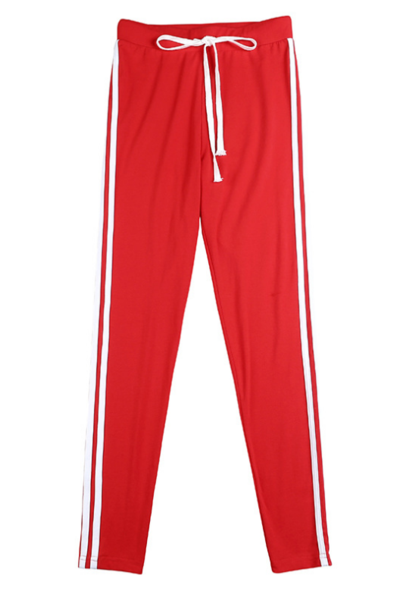 New red hooded umbilical banded trousers sports and leisure suit summer