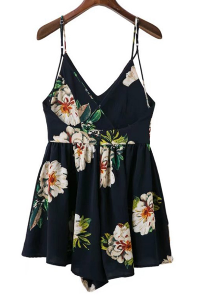 Floral Print Plunge V Spaghetti Strap Romper Featuring Criss-Cross Open Back
