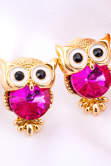 Fashion multicolor Owl crystal earrings