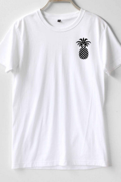 Pineapple Print Crew Neck Short Sleeved Basic Tee