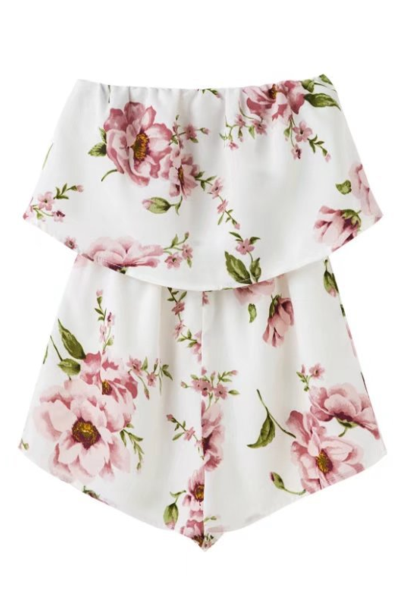 Floral Print White Strapless Double Layered Romper